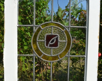 1 art deco British leaded light stained glass panel. R287. WORLDWIDE DELIVERY!!!