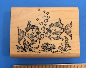Kissing Fish Wood Mount Rubber Stamp