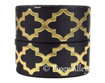 "Black Ribbon, 7/8"" Gold Foil Print Quatrefoil Grosgrain Ribbon - 5 yards - Black"