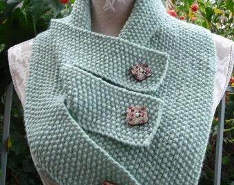 Moss Stitch Buttoned Pure Wool Neckwarmer  -  1449