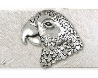 Solid African Grey Parrot Money Clip Jewelry Sterling Silver AF1-MC