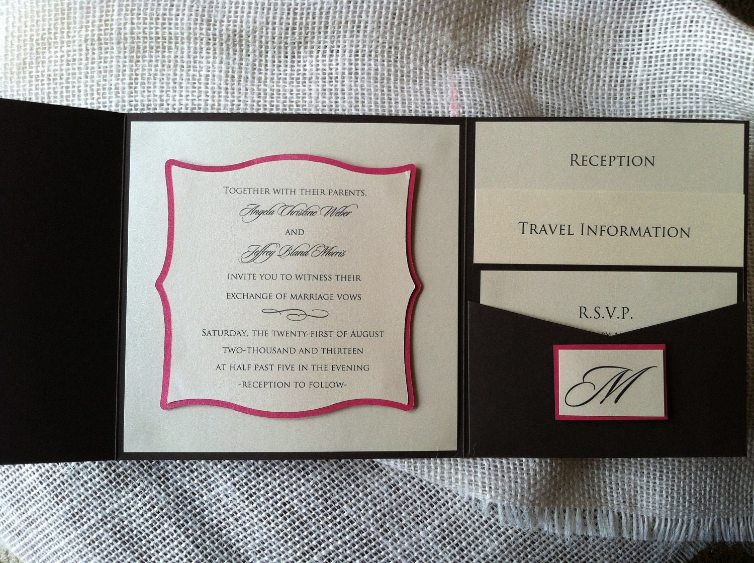 6.25 Square Wedding Invitation Suite with 3D Mounted Die