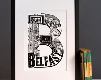 Belfast print - Typographic Print - letter art- housewarming gifts