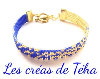 Lovely bright blue and gold bracelet weaved in pearls miyuki