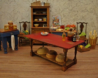 Rustic Kitchen Work Table with Ox Blood Plank Top ~ 1:12 Scale Miniature Dollhouse Furniture