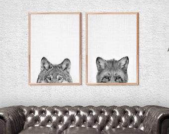 Wolf Art Print, Fox Print Nursery, Woodlands Animal Print, Woodlands Nursery Animal Print Black and White, Animal Photography, Wolf Wall Art
