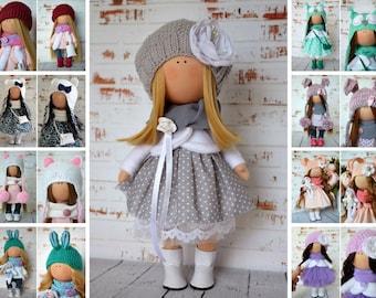 Fabric Doll Interior Doll Rag Doll Art Doll Handmade Doll Grey Doll Tilda Doll Soft Doll Nursery Doll  Cloth Doll Collectable Doll by Olga S