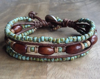 Bohemian bracelet boho chic jewelry womens jewelry gift for her boho bracelet wooden beaded bracelet rustic bracelet boho chic bracelet