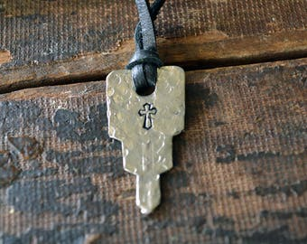 Hand Stamped Cross Key - Key of Faith - Hammered Key Necklace - Vintage Key Necklace - Key To God - Catholic Key - Christian Key Necklace
