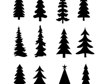 Christmas Tree Evergreen Clipart Silhouettes,  eps dxf pdf png svg Files - Plasma - CNC
