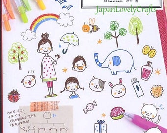 Easy Drawing for Journal, Planner, Japanese Ball Point Pen Drawing Book, Kawaii Doodle, Easy Illustration Tutorial, Art Technique, B1740