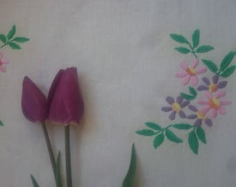 Embroidered tablecloth, Hand-embroidered small tablecloth, White embroidered tablecloth with flowers, Floral tablecloth, Cotton tablecloth