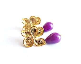 Orecchini giada orecchini pendenti pietra viola a goccia orecchini floreali orchidee oro e pietra viola gioielli pietre dure regalo per lei