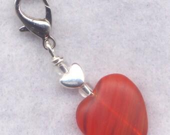 Almost Orange Stitch Marker Clip Tangy Tangerine Heart Single /SM216M