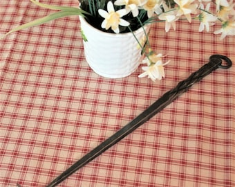 Meat flipper, hand forged by blacksmith, pineapple twist handle with hanging ring, BBQ grill / kitchen tool, lid lifter