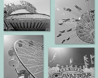 Carnival Photography Black and White, Fair Art, Retro Carnival: Ferris Wheel, Swings, Starship 2000, Candy Sign – Set of 4. Series 1