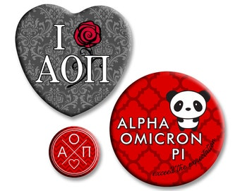Alpha Omicron Pi Button Set