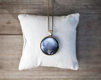 Blue Planet necklace, Navy blue necklace, Necklace bronze navy, Neptune necklace, Neptune gifts, Navy blue jewelry, Celestial necklace gift