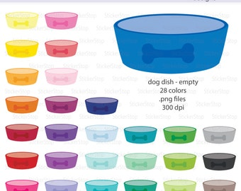 Dog or Puppy Empty Food Dish Digital Clipart - Instant download PNG files