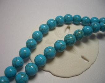 Turquoise blue Magnesite beads, round, 8mm turquoise blue gemstone beads, blue, turquoise, round beads, 8mm beads, Turquoise Magnesite beads