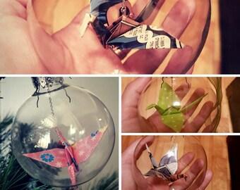 Christmas ornament / Glass ornament / Origami crane ornament / Large custom color crane ornament