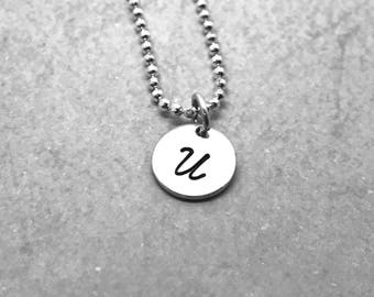 Initial Necklace, Sterling Silver, Letter U Necklace, All Letters Available, Hand Stamped Jewelry, Personalized Jewelry, Mother's Necklace