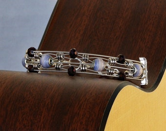 Handmade Paper Bead  & Guitar String Bracelet - Plum Fancy
