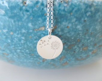 Sterling silver dandelion necklace, dandelion necklace, wish necklace