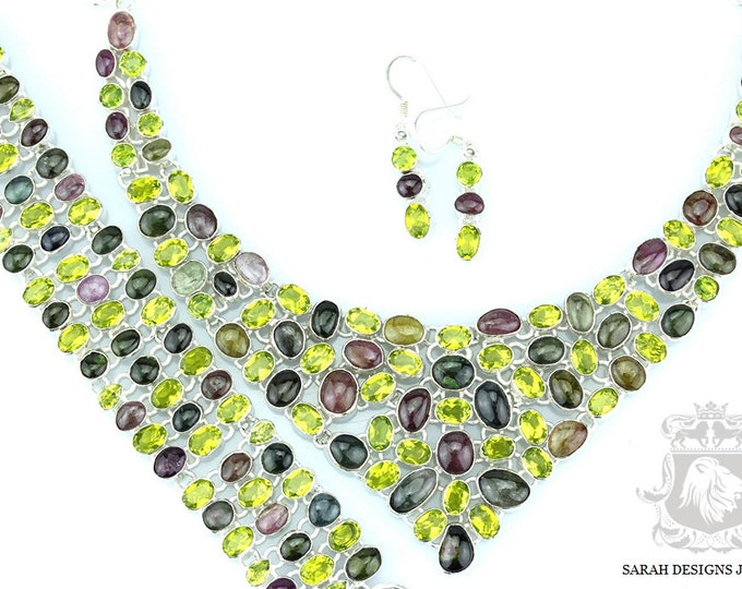 VIBRANT! WATERMELON TOURMALINE 925 Solid Sterling Silver Necklace Set 128