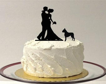 MADE In USA, With Pet Dog of Choice Wedding Cake Topper, Silhouette Wedding Cake Topper Bride + Groom + Dog Cake Topper Doberman Rottweiler