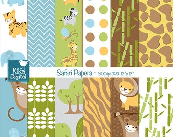 Safari Digital Papers - Digital Scrapbooking Papers - card design, invitations, background, paper crafts, web design - INSTANT DOWNLOAD