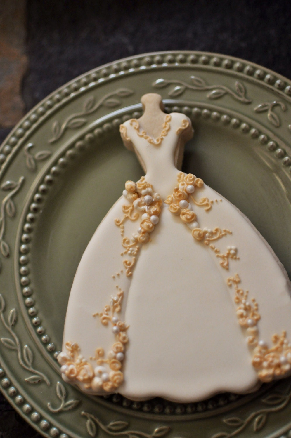 Wedding Dress Cookies 6 PIECES Embroidered Full Skirt