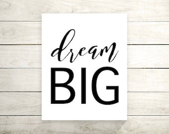 Dream Big Canvas Print - Canvas Art Print - Wall Art - Home Decor - Inspirational Quote - Motivational Poster -Canvas Art - Typography Print