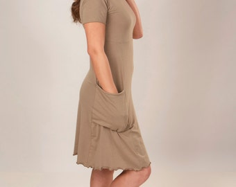 Passport Pocket T-shirt Dress - Organic Clothing - Made to Order - Many Colors To Choose From