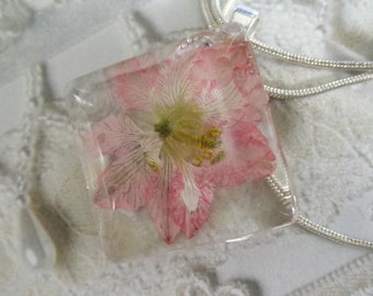 Pink Larkspur Glass Diamond Shaped Pressed Flower Pendant- July's Birth Flower-Symbolizes an Open Heart-Nature's Art