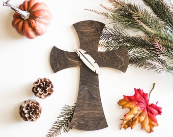 Dark Stained Wooded Cross with Natural Wood Sculptured Feather Detail, Native Decor Home, Office or Cabin Decor Father's Day Gift