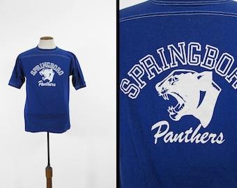 Vintage Springboro Panthers Jersey Ohio Football Blue Sportswear Shirt - Medium