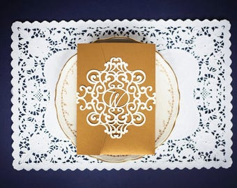 Monogram laser cut belly band, regal elaborate design