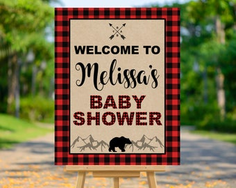 Lumberjack Baby Shower Welcome Sign, Buffalo Plaid Welcome Poster, Red and Black Plaid, Baby Shower Decorations, Printable Personalized Sign