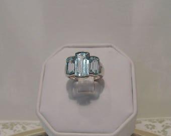 Vintage Signed Natural Blue Topaz Gemstone Sterling Silver Ring