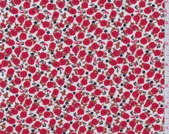 White/Red Poppy Floral Crepe, Fabric By The Yard