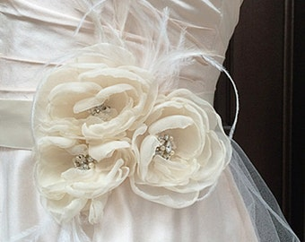 Ivory Sash Belt with Rhinestote and Feather