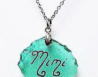 Engraved Sea Glass necklace - Mimi