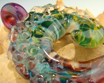 Glass Cresting Ocean Wave Textured Focal Pendant lampwork Boro Purple and aqua (made to order) VGW