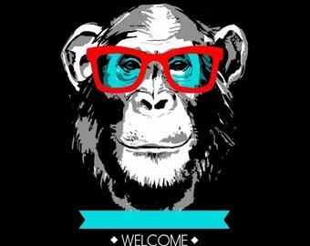 Room art,Red eyeglasses chimpanzee wall decor,Room decoration printing