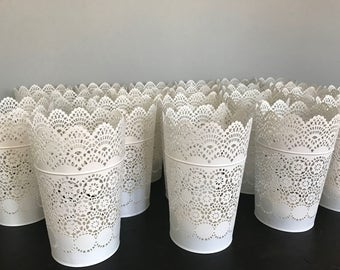 Lace Style White Candleholders