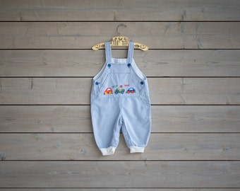 Vintage Teddy Bear In A Car Embroidered Overalls (Size 6/9 Months)