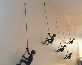 3 Piece Climbing Sculpture Wall Art Gift For Home Decor Interior Design  Rock Climber Climbing Man