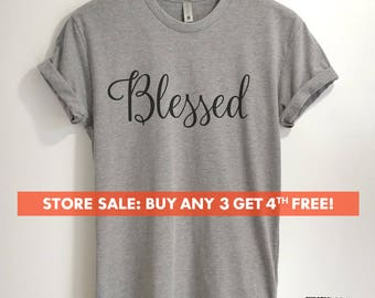 Blessed T-shirt, Ladies Unisex Crewneck T-shirt, Blessed Mom, Gift For Mother, Short & Long Sleeve T-shirt