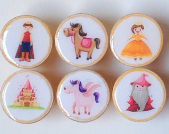 Wooden Fairy Tale Knobs, Princess Knobs, Wooden Knobs, Wood Knobs- 1 1/4 Inches - Set of 6